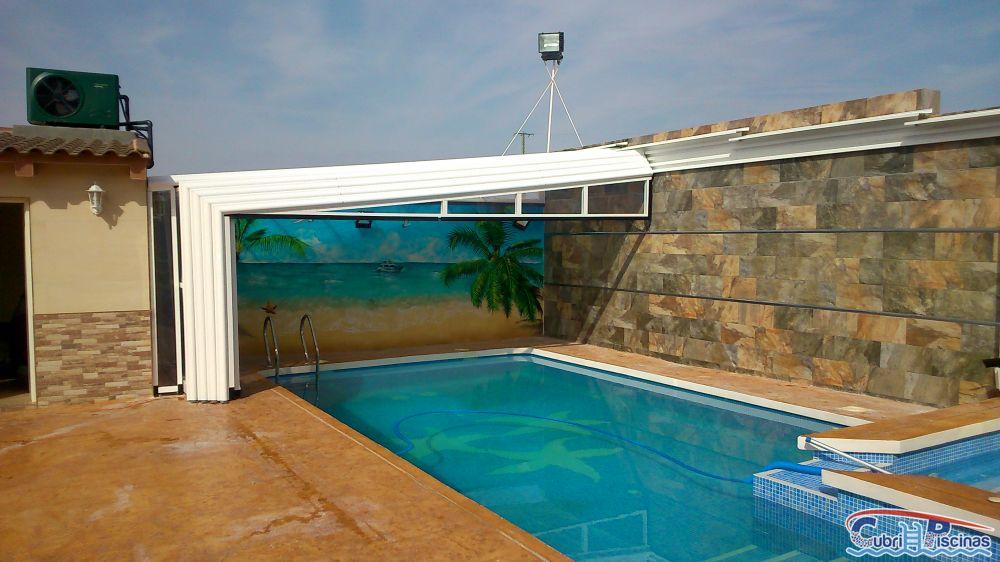 Cubripiscinas cubiertas altas telesc picas adosadas for Cubiertas piscina